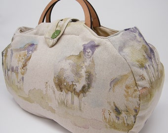 Large project bag. Sheep fabric knitting bag.