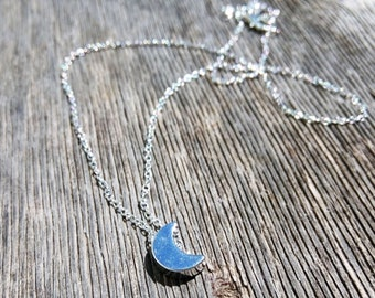 Moon Necklace, Crescent Necklace, Half Moon Necklace, Boho Necklace, Minimal Necklace, Semicircle Necklace, Silver Necklace, Trendy Jewelry