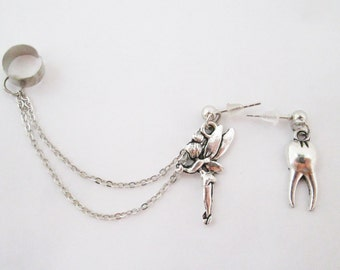 Tooth fairy ear cuff with chain