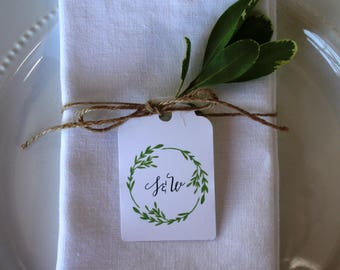 Wedding favor tag, custom wedding favor tag, thank you wedding favor tag, monogrammed tag, engagement party tag, watercolor tag - set of 10