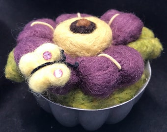 Pincushion--purple daisy with a butterfly atop--needle felted--great for quilters