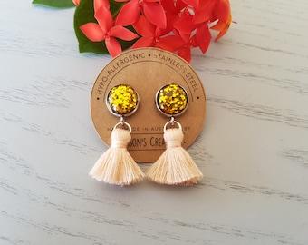 Gold Glitter Resin Button/Peach Cotton Tassel Earrings - Hypo-Allergenic