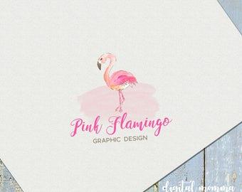Premade Pink Flamingo Logo Design, Flamingo Logo, Flamingo Branding