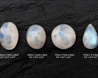 Rainbow Moonstone Cabochon Gemstone - Lot of 4 Pieces - Pair Cabochon - Pair Moonstone - Cabochon Lot - Ring Gemstones