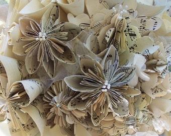 Sheet Music or Book Page Bridal Bouquet plus Lapel Flower
