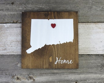 """All States Available, Rustic Hand Painted """"Home State"""" Wood Sign, Connecticut State Home, Home State Pride - 9.25""""x9.25"""""""