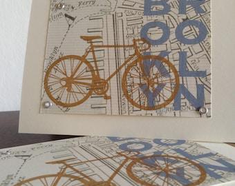 Brooklyn Karte und Fahrrad - 6-Pack Siebdruck Grußkarten