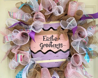 Choose your sign- Burlap Mesh Easter Wreaths