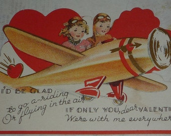 Boy and Girl Flying Airplane Vintage 1940s Valentine Card