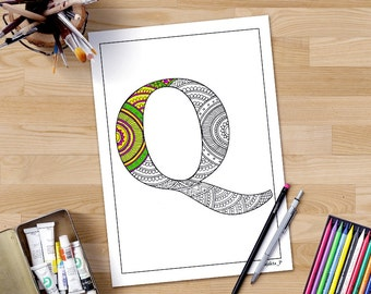 Colouring Pages Of Abc : Zentangle alphabet coloring pages henna doodle alphabet