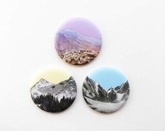 Fridge Magnets, Kitchen Decor - Coloured Mountains