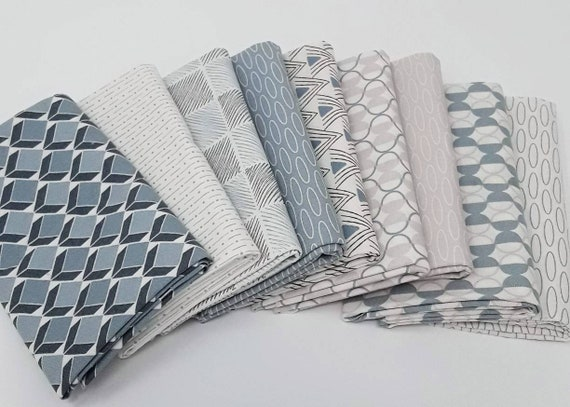 Geometric Grey Handcut Fat Quarter Bundle For Modern Patchwork Quilting.  Make A Wall Hanging, Table Runner, Placemats or Baby Quilts