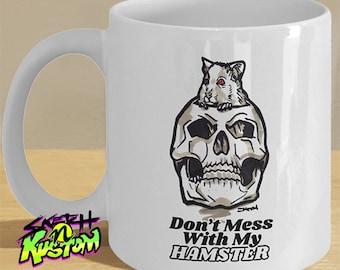 Funny hamster gift mug, hamster mug gift for hamster lovers and hamster owners, scary halloween hamster art with skull, hamster decor