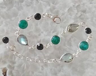 Labradorite, Emerald, Black Onyx and Sterling Silver Bracelet