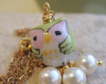 Charme collier porcelaine hibou Pearl Dangles gold chain cadeau personnalisé pour sa sous 20 chouette Melt With You