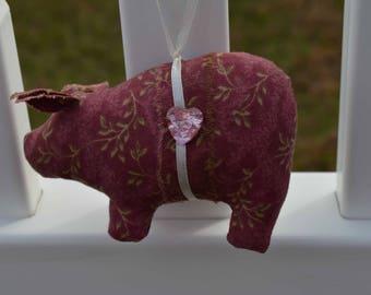 Mauve color pig, calico fabric pig, pig ornaments, novelty ornament, home decor pig