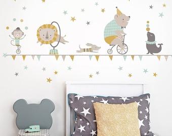 Zirkus-Wand-Aufkleber in Senf & Mint ~ für Kinderzimmer und Kinderzimmer