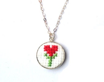 Genuine silver necklace with embroidered tulip. Red tulip charm necklace wedding gift on 925 silver chain. Sweatheart gift