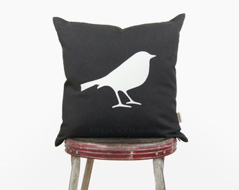 16x16 or 12x18 lumbar bird pillow cover | White and dark gray bird silhouette decorative throw pillow case, cushion | Woodland nursery decor