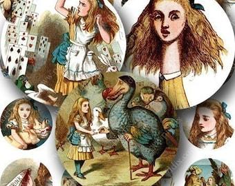 1 inch circles Alice in Wonderland Digital Collage Sheet  -- piddix printables 326