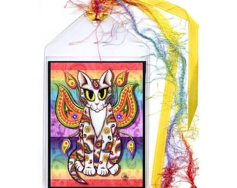 Fairy Cat Bookmark Rainbow Paisley Cat Bookmarker Winged Cat Psychedelic Bookmark Fantasy Cat Art Mini Bookmark Gift For Cat Lover