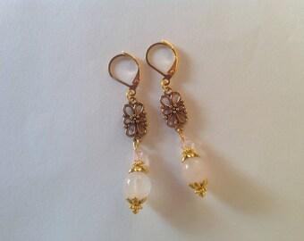 Rose Quartz drop earrings pink earrings dangle earrings long earrings drop earrings