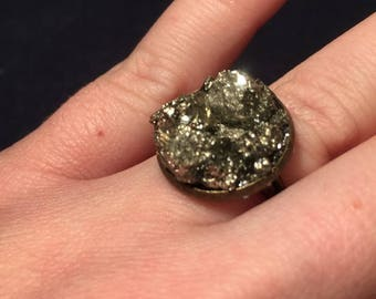 Pyrite Fools Gold Boho Gypsy Witchy Ring