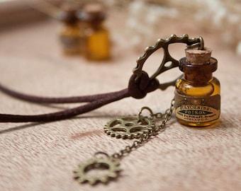 Steampunk Gears bottle necklace, Steampunk pendant, vial pendant, steampunk poison, cute necklace, christmas gift, Steampunk necklace,
