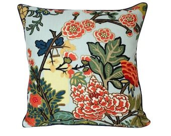 Schumacher Chiang Mai Pillow Cover with Lanterns and Flowers and Navy Blue Piping