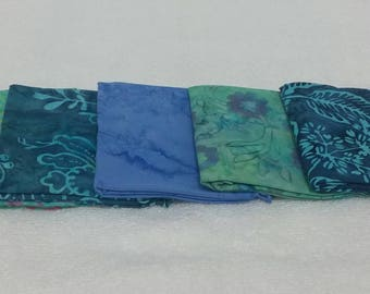 Batik Fat Quarters Ocean Tones  - 5 Pack - BUY 3 GET 1 FREE!!!