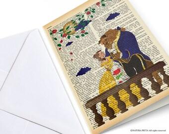 Biglietto d'auguri la Bella e la Bestia-inviti personalizzati-regalo per lei-biglietto anniversario-biglietti auguri-by NATURA PICTA-NPGC034