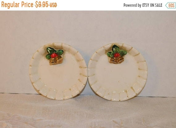 Delayed Shipping Christmas Butter Pat Plates Vintage Japan Christmas Holly Berry Bells Small Pair Candy Dish Holiday Trinket Tray Vanity Dre