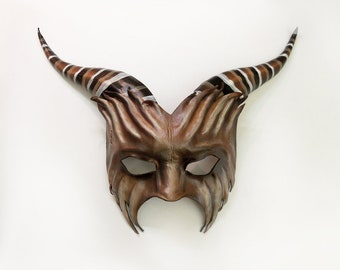 Leather Goat Mask  lightweight easy to wear entirely handcrafted with sturdy elastic straps