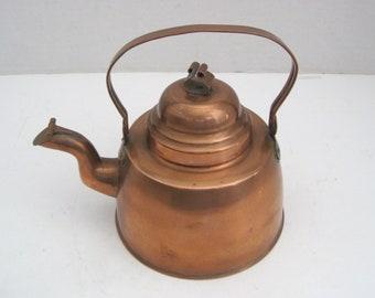 Vintage Copper Tea Kettle Teapot Kitchen Decor Farmhouse