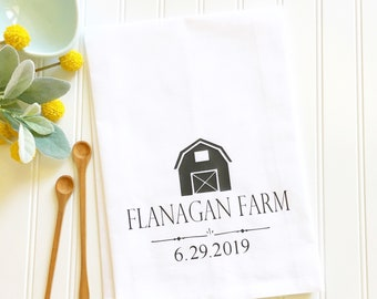 custom kitchen towel wedding gift for newlyweds bridal shower gift flour sack tea towel kitchen decor housewarming gift custom kitchen gifts