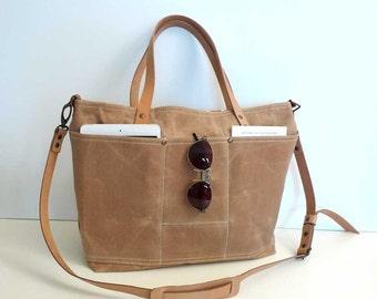 TAN Waxed Canvas Shoulder bag / Tote Bag / Diaper Bag