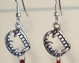 Vampire Teeth Blood Earrings Exgalabur Jewelry