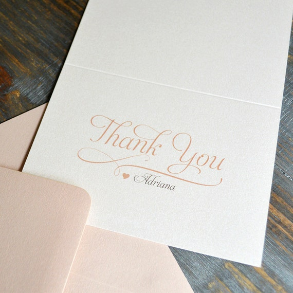 BLUSH Thank You Cards - Ivory &Blush - Custom Thank You Notes - Blank Inside - Bridal Shower - Sweet 16 - Quince - Baptism