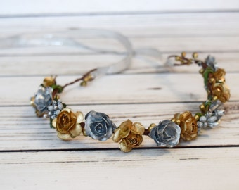 Handcrafted Silver and Gold Flower Crown - Christmas Flower Crown - Metallic Headband - Flower Halo - Flower Girl Crown - Renaissance Crown