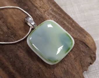 Forest in the mists green fused glass pendant.