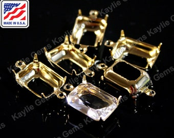 14x10 Octagon Prong Setting Pure 24K Gold Plated Open Back 1 Ring / 2 Ring Made In the USA -6pcs