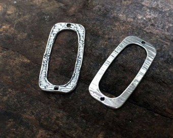 Links Rectangle Sterling Silver Components TWO