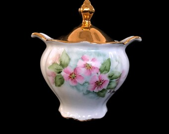 Vintage Bareuther Waldsasson Sugar Bowl with Lid  Bavaria Germany Gold With Lid Pink Flowers Green Leaves Cottage Chic Porcelain