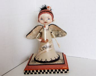 "Angel Folk Art Doll ""Shine"""