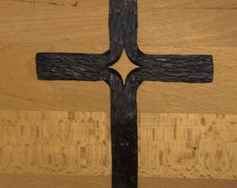 Woodgrain textured hand forged cross
