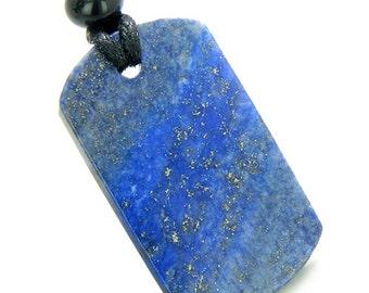 Lapis Lazuli Dog Tag Magic Powers Lucky Charm Amulet Gemstone Pendant on Adjustable Cord Necklace