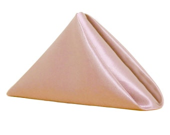 YCC Linen - Blush Napkin for Weddings Pack of 10 | Wholesale Satin Napkins