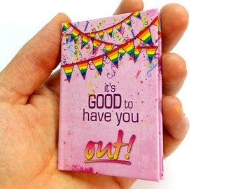 Coming out of the closet gay greeting card, gay pride flag gift support card, Be yourself, LGBT support gift secret diary come out mini book