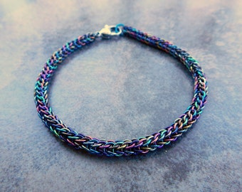 Niobium Chainmail Bracelet - Multi Color Chainmaille Bracelet - Chainmail Jewelry