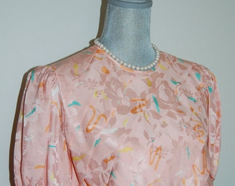 S ADRIANNA PAPELL Silk Pink Blouse with Floral and Confetti-like Pattern Size Small